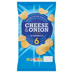 Sainsbury's Cheese & Onion Crisps 6x25g