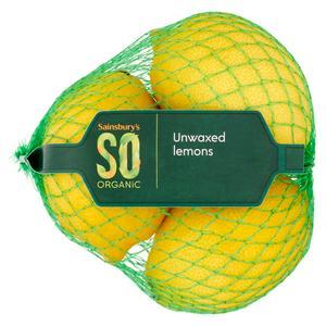 Sainsbury's Lemons Unwaxed, SO Organic x3