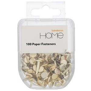 Sainsbury's Home Paper Fasteners Gold Finish x100