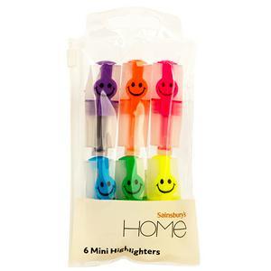 Sainsbury's Home Smile Mini Highlighters 6Pk