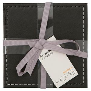 Sainsbury's Home Black & Grey Reversible Leather Coaster x4