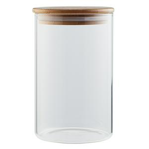 Sainsbury's Home Round Glass Jar With Bamboo Lid 1L Tall