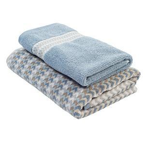 Sainsbury's Home Chevron Stripe Blue Towel