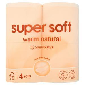 Sainsbury's Super Soft Toilet Tissue, Warm Natural x4 Rolls