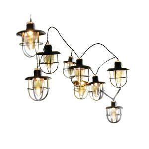 Solar 10L Black Caged Bulb String