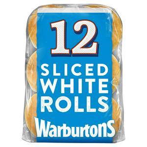Warburtons Sliced White Rolls x12