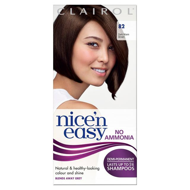 Clairol Nice N Easy Non Permanent Hair Dye No Ammonia Dark Warm Brown 82 Sainsbury S