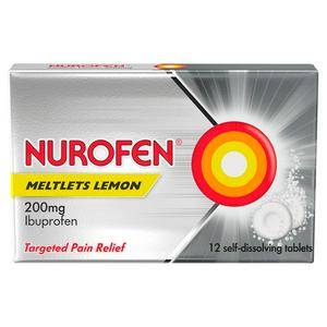 Nurofen Ibuprofen 200mg Meltlet Tablets, Lemon x12