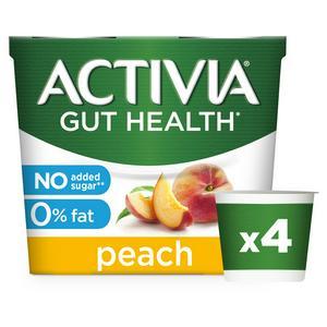 Activia No Added Sugar 0% Fat Peach Yogurt 4x120g