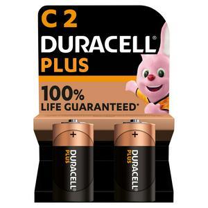 Duracell Plus Alkaline C Batteries, pack of 2