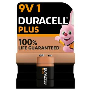 Duracell Plus 9V Alkaline Batteries, pack of 1