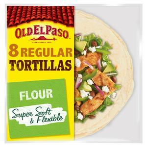 Old El Paso Regular Soft Flour Tortilla Wraps x8 326g
