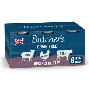 Butcher's Recipes in Jelly Wet Dog Food Tins 6x400g