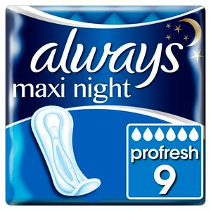 Always Maxi Profresh Night Sanitary Towels Without Wings x9