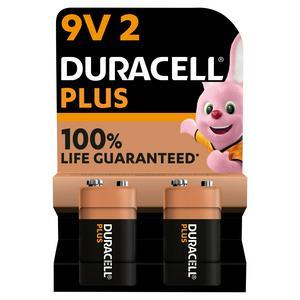 Duracell Plus 9V Alkaline Batteries, pack of 2
