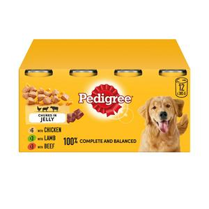 Pedigree in Jelly Wet Adult 1+ Dog Food Tin Mixed Selection 12x385g