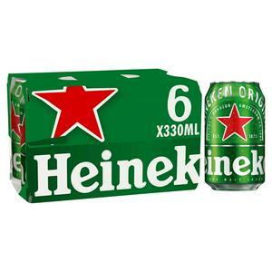 Heineken Premium Lager Beer Cans 6 x 330ml
