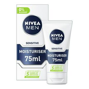 Nivea Men Sensitive Face Moisturiser with 0% Alcohol 75ml