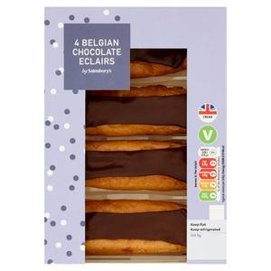 Sainsbury's Fresh Cream Belgian Chocolate Eclairs 4x35g