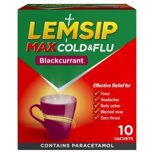 Lemsip Max Cold & Flu Remedy Sachets, Blackcurrant x10