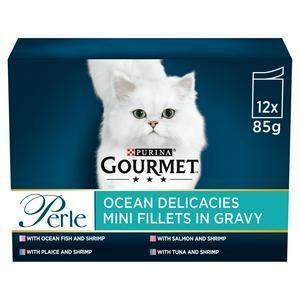 Gourmet Perle Cat Food Pouches Ocean Delicacies 12x85g