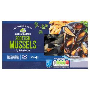 Sainsbury's Scottish MSc Mussels In Garlic Butter 500g (serves x2)