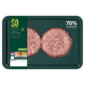 Sainsbury's Premium Beef Burger, SO Organic x2 228g