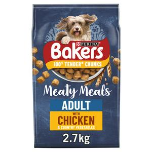Bakers Meaty Meals Adult Dry Dog Food Chicken 2.7kg