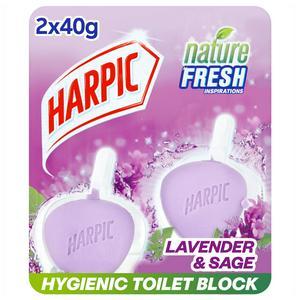 Harpic Active Fresh 6 Rim Block Toilet Cleaner Lavender Scent 2x40g
