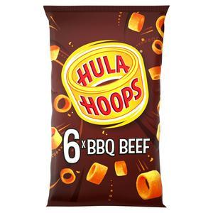 Hula Hoops BBQ Beef Potato Ring Crisps 6x24g