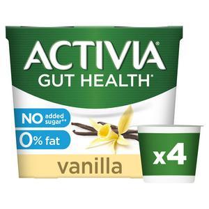 Activia No Added Sugar 0% Fat Vanilla Yogurt 4x120g