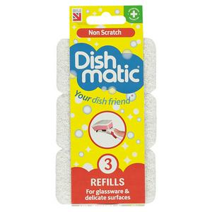 Dishmatic Replacement Heads Non-Scratch x3