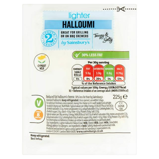 Sainsbury S Light Cypriot Halloumi Cheese 225g Sainsbury S