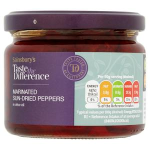 Sainsbury's Marinated Sundried Pepper in Olive Oil, Taste the Difference 290g (200g*)