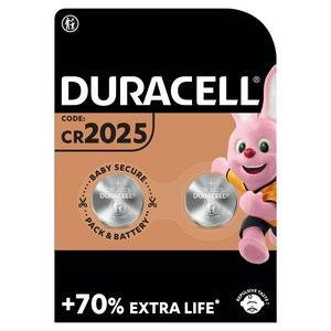 Duracell Specialty 2025 Lithium Coin Battery 3V (DL2025 / CR2025), pack of 2