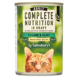 Sainsbury's Complete Nutrition 1+ Adult Cat Food with Lamb & Heart in Gravy 400g