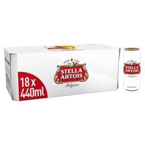 Stella Artois Premium Lager Beer Cans 18x440ml