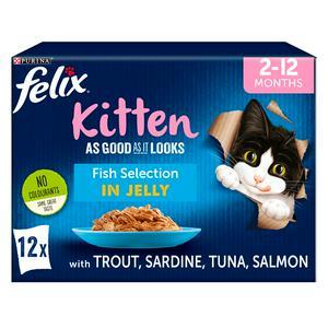 Felix Aa Good As It Looks Kitten Fish Selection in Jelly Wet Cat Food 12x100g