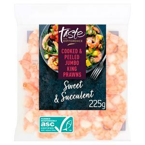 Sainsbury's Cooked & Peeled Jumbo King Prawns, Taste the Difference 225g