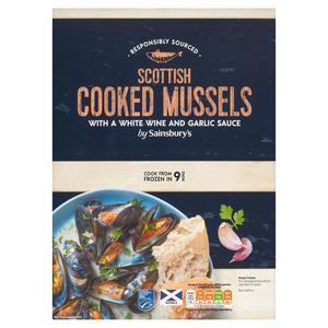 Sainsbury's Scottish Cooked Mussels In A Creamy White Wine & Garlic Sauce 500g