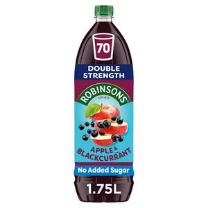 Robinsons Double Strength No Added Sugar Squash Apple & Blackcurrant Squash 1.75L
