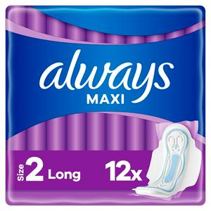 Always Maxi Long (Size 2) Sanitary Towels Wings x12