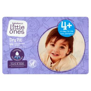 Sainsbury's Little Ones Dry Fit Size 4+ Maxi Plus 44 Nappies