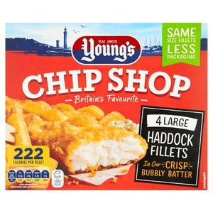 Young's Chip Shop Large Haddock Fillets 440g