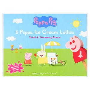 Peppa Pig Peppa Ice Cream Lollies Strawberry Flavoured 6 X 60ml Sainsbury S