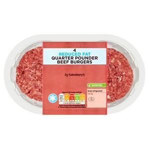 Sainsbury's Reduced Fat Quarter Pounder Beef Burgers x4 454g