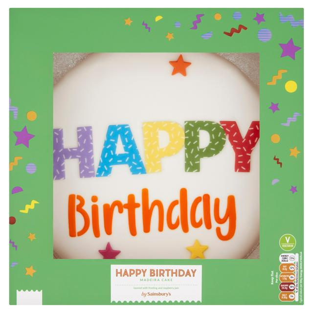 Wondrous Sainsburys Happy Birthday Madeira Cake 1 26Kg Serves 18 Funny Birthday Cards Online Elaedamsfinfo