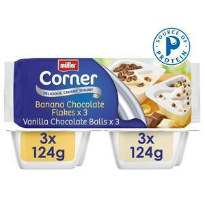 Muller Corner Vanilla & Banana Yogurts with Chocolate Balls 6 x 130g