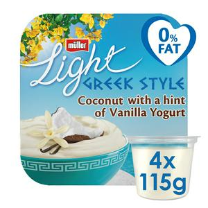 SAINSBURYS > Dairy Eggs Chilled > M�ller Light Coconut Greek Style Yogurt 4x120g
