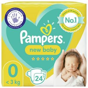 Pampers New Baby Size 0, Carry Pack, 24 Nappies